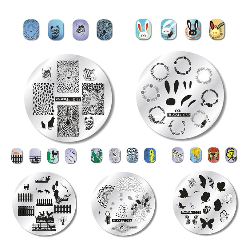 WAKEFULNESS Gyvūnų modelio apvalus nagų štampavimo plokštelės - Nagų menas