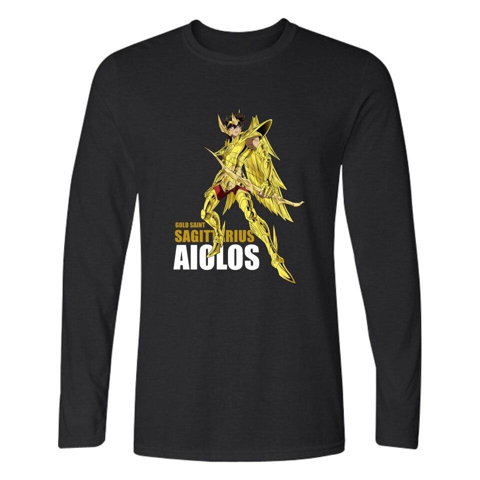 Gold Saint Seiya Long Sleeve T Shirt Men Slim Fit Anime T Shirts And Cotton Plus Size 4XL In Tee Shirt Long Tee Shirts