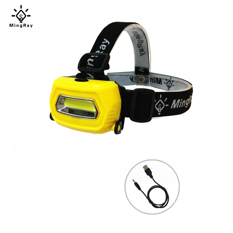 MINGRAY 3W Headlamp 3 Molds USB Rechargeable Adjustable Size For Fishing LED Headlight Flashlight On Head  Camping COB Torch