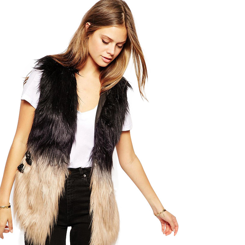7e6cd3ac78d XS 2XL Womens Faux Fur Vest Femme Fur Gilet Leather Stitching Fur Vest  Waistcoat For Female New Fashion Trends-in Vests   Waistcoats from Women s  Clothing ...