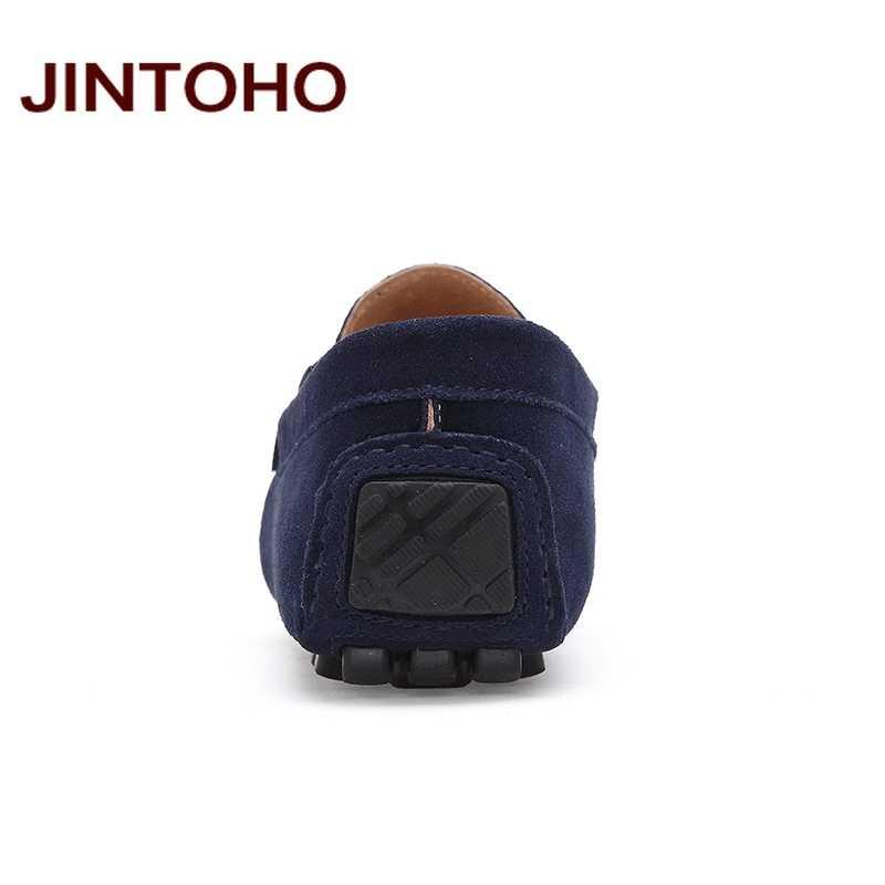 JINTOHO Büyük Boy Erkek Bot Ayakkabı Yüksek Kaliteli Inek Süet Erkek rahat ayakkabılar Loafer'lar Üzerinde Kayma Rahat Erkek Ayakkabı Moda Erkek daireler