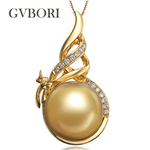 GVBORI 18K Yellow Gold 10-11mm Natural South Sea Gold Pearl Necklace Diamond Pearl Pendant For Women Wedding/Women's Day Gift