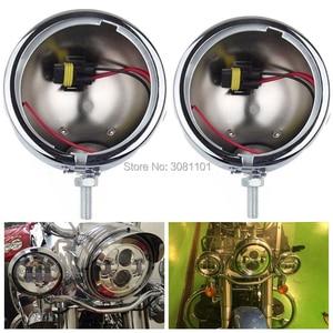 """Image 2 - 4.5 """"30 W ĐÈN LED Sương Mù Đi Đèn Phụ Trợ Đèn Lái Gắn Chân Đế Xô cho Harley FLSTC Electra Glide Ultra đường Vua"""