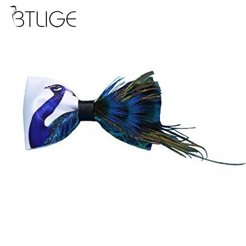 BTLIGE Novelty Peacock Feather Necktie Bow Tie Neck Ties For Men Party Accessories High Quality Bowtie Dress Shirt Wedding Party