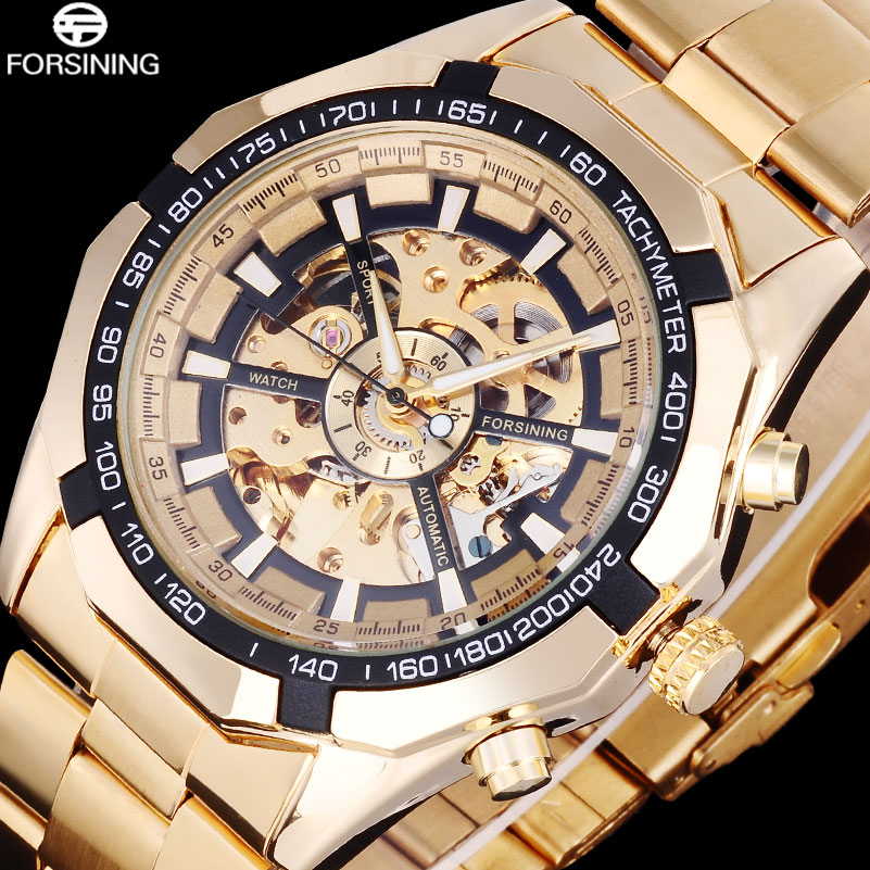 FORSINING Business Men Skeleton Automatic Watches Gold Stainless Steel Mechanical Watches Male Dress Clock Relogio Masculino new ik gold skeleton lxuury watch men silver steel automatic mechanical watches mens fashion business dress wristwatch relogio