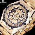 Forsining negócios men skeleton automatic relógios mecânicos de aço inoxidável relógios de ouro vestido masculino relógio relogio masculino