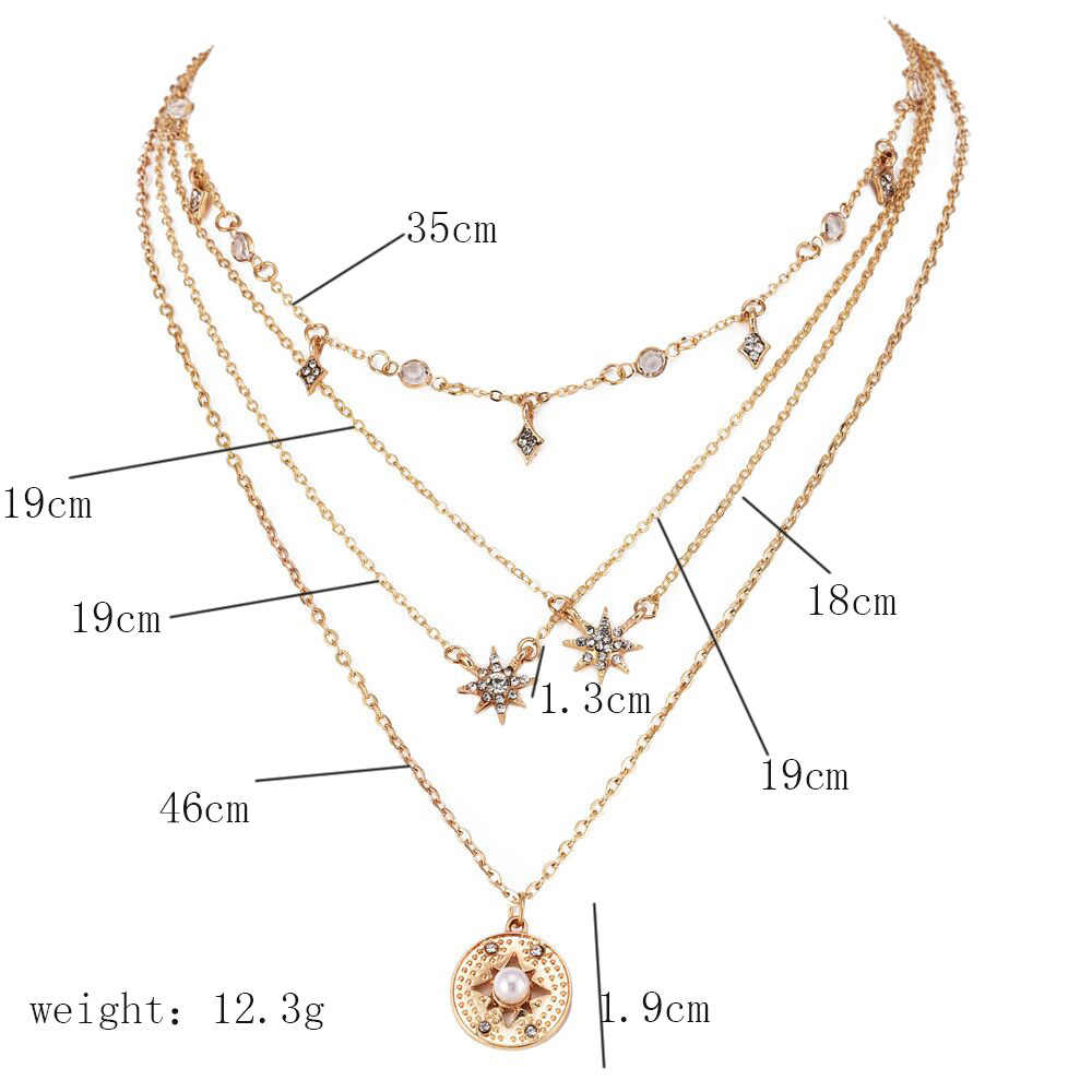 Gold color Choker Necklace for women round crystal stars Pendant Chain Necklaces & Pendants Laces velvet chokers Fashion Jewelry