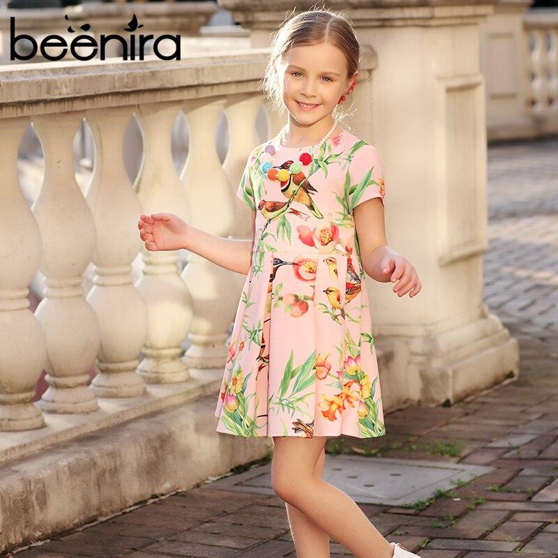 Beenira Girls Dresses 2017 New European and Americen Style Children Birds Pattern Princess Dress Kids Cute Clothes Summer Dress