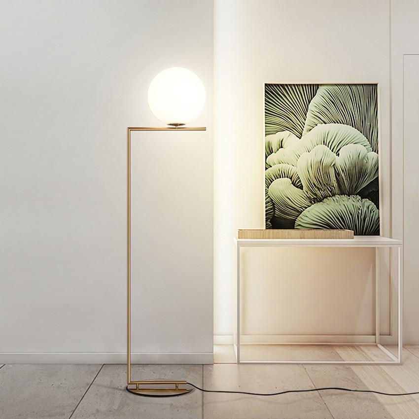 Modern Floor Lights Standing Lamps For Living Room Loft: Modern Led Iron LOFT Glass Golden Floor Lamps Standing