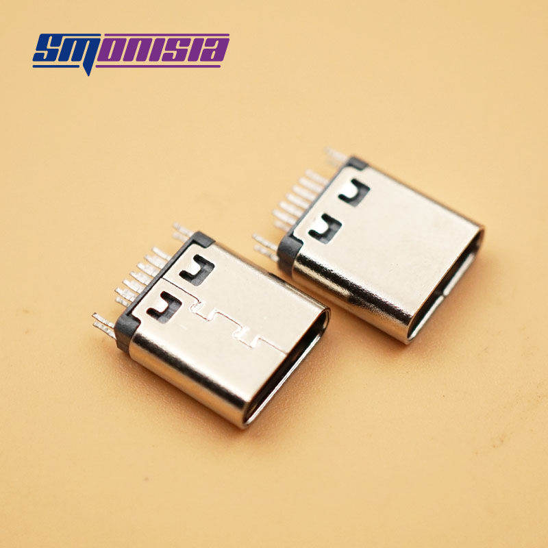 100pcs/lot 12 Pin Type-C 3.1 USB Female Connector 12 P 0.8 Double Sided Plywood Vertical USB C Female Port