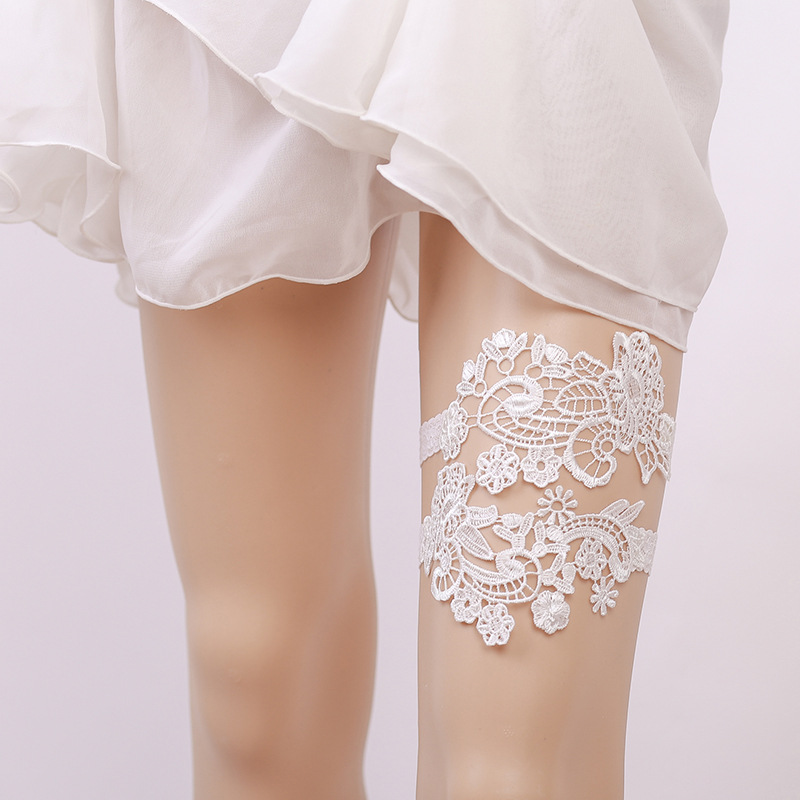 Wedding Leg Garter: Wedding Garters Lace Flower White Sexy 2pcs Garters For