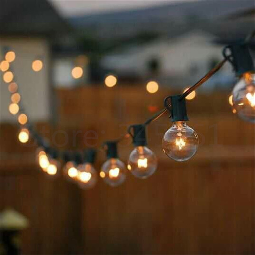 Patio Lights G40 Globe Party Christmas String Light,Warm White 25Clear Vintage Bulbs 25ft,Decorative Outdoor Backyard Garland 2w 3500k 40 led warm white decorative string light warm white 4m