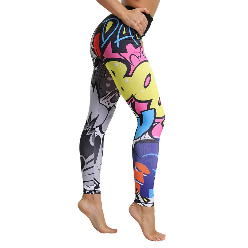 Usstore  Women Girls Digital Printed Yoga Pants Casual Swirl Fitness Running Gym Stretch Sports Leggings Trousers