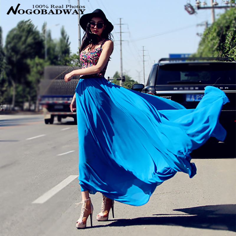 2016 new chiffon summer womens skirts long fashion casual maxi skirt elastic high waisted plus size floor length black - Nogobadway store