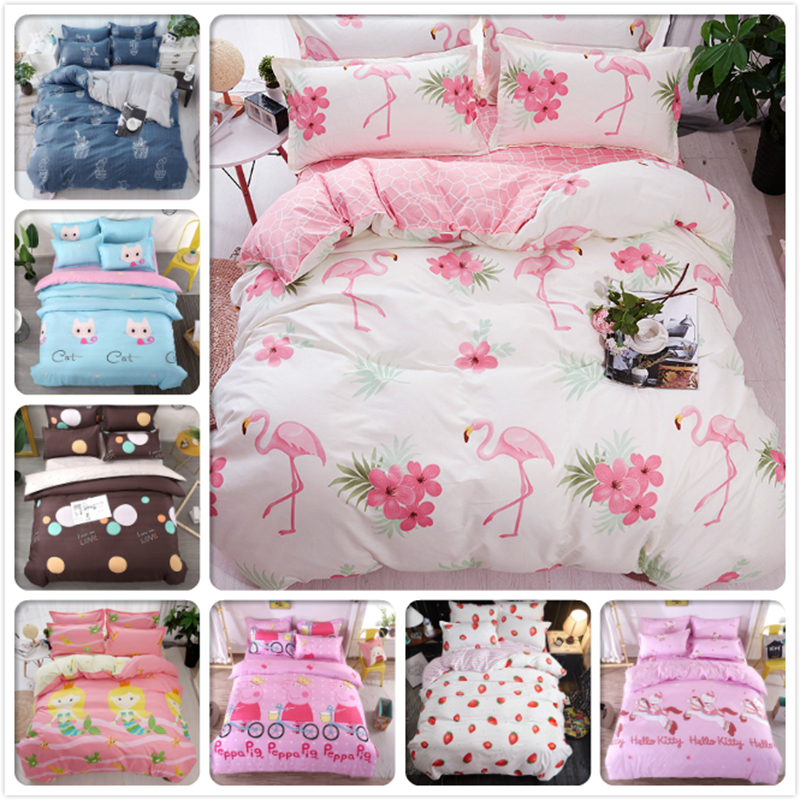 Flamingo Pattern 3/4 pcs Bedding Set White Pink AB Side Duvet Cover Kids Student Bed Linen Single Twin Queen King Size 1.5m 1.8m