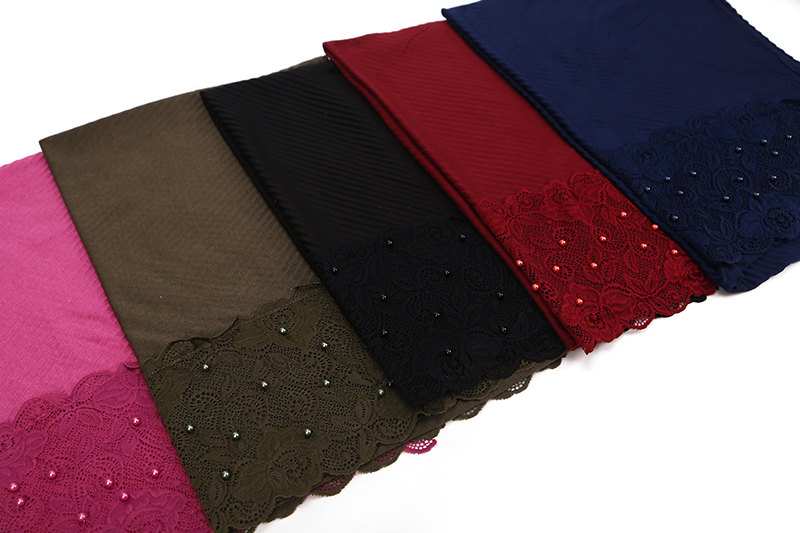 10pc/lot New Scarf France Plain Pleated Shawl Pearl Edges Hijab Wrinkle Muslim Solid Scarfs Long Muffler Fashion Scarves