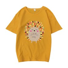 Cartoon Igel Druck Frauen T-Shirt Kurzen Ärmeln Oansatz T-shirt Frauen T Harajuku Tops Femme(China)