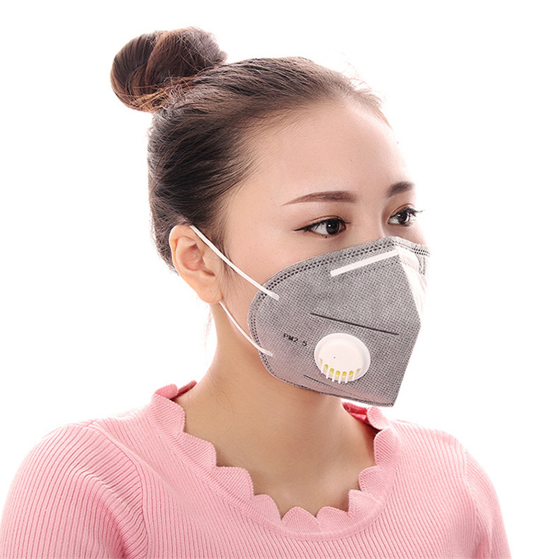 50pcs/Bags Pure Color Belt Breathing Valve And More Choice Of Cotton Haze Breathable Protective Three - Dimensional Masks