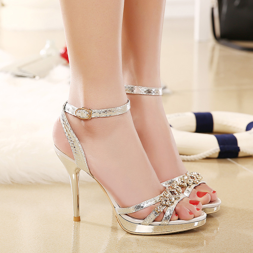 Low Price 2015 New Design Ladies Sexy Stilettos High Heels Women Shoes Pumps  Buckle Peep toe Rhinestone Gold Silver Sandals-in Women s Sandals from Shoes  on ... 1df8717222ad