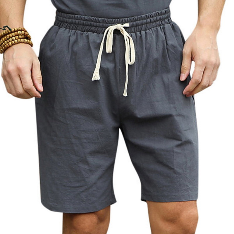 HEFLASHOR 2019 New Linen Shorts Men Summer Elastic Waist Short Pants Casual Cotton Joggers Loose Shorts Male Beach Linen Short