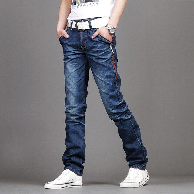 Новые Случайные мужские Джинсы Тонкий подходят Мужчины Брюки Личность карманы Модные Джинсы Мужчины Прямо Плюс Размер 28 ~ 36/38 hombre pantalones