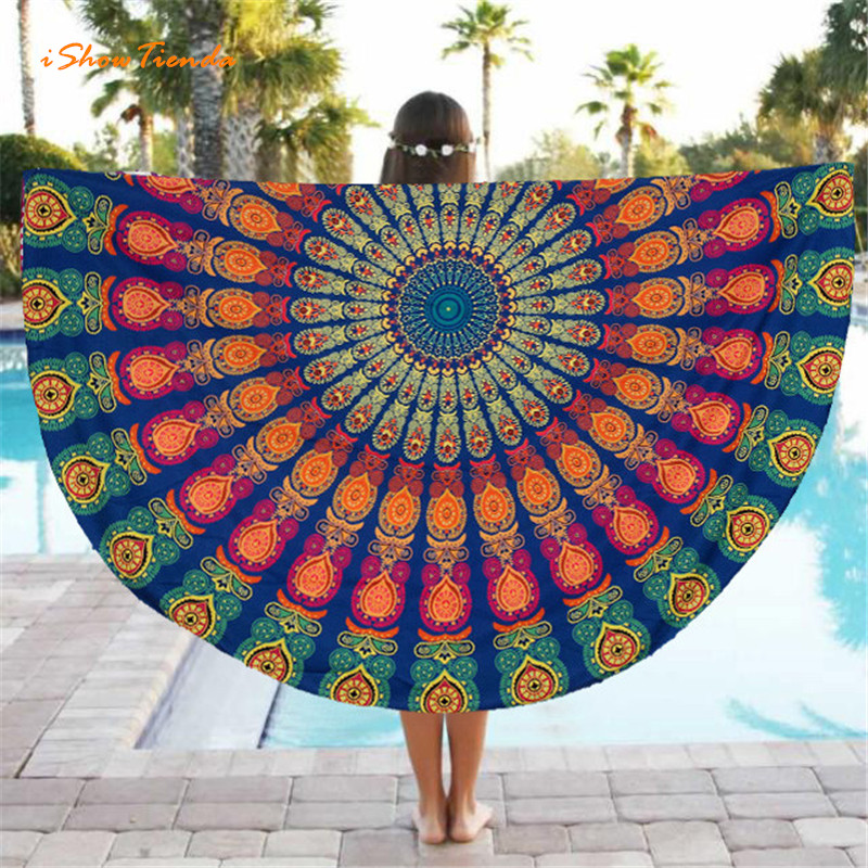 ISHOWTIENDA Hot 1pc 150cm Round Beach Pool Home Shower Towel Blanket Table Cloth Yoga Mat Round Beach Towel Dropship Wholesale