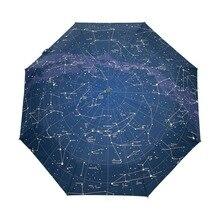 Креативный автоматический 12 Созвездие Вселенная Галактика космический зонтик с рисунком звезд Звездная карта звездное небо складной зонтик для женщин