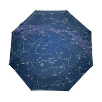 2017 Creative Automatic 12 Constellation Universe Galaxy Space Stars Umbrella Star Map Starry Sky Folding Umbrella