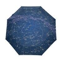 2018 크리 에이 티브 자동 12 별자리 우주 갤럭시 공간 별 우산 스타지도 별이 빛나는 하늘 접는 우산 여성을위한