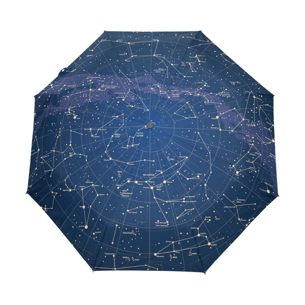 2018 Creativo Automático 12 Constelación Universo Galaxy Space Stars Umbrella Star Map Starry Sky Paraguas plegable para mujeres