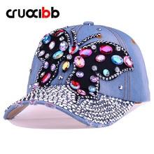 CRUOXIBB Baseball Cap Women Full Crystal Colorful Big Butterfly Hat  Denim Bling Rhinestone Snapback Cap Casquette Summer Hat