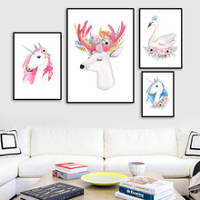 Cartoon Colorful Flower Deer Unicorn Swan Wall Art Canvas Painting Nordic Posters And Prints Pictures For Kids Room Decor