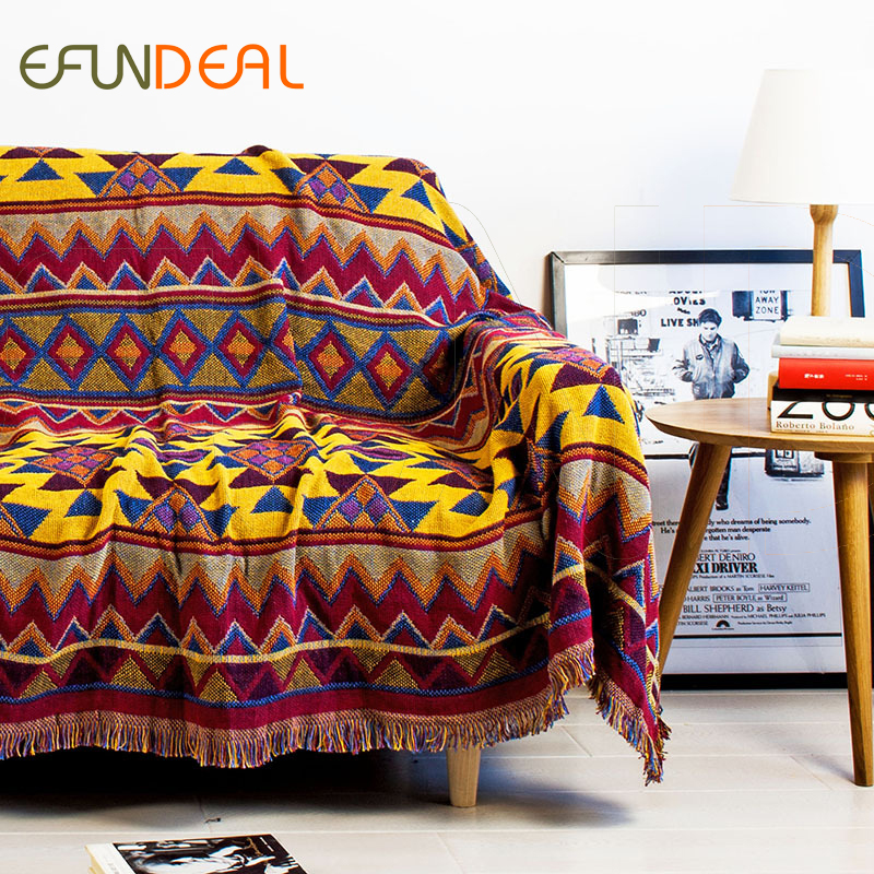 Us 81 59 15 Off Vintage Bohimian Style Woven Soft Sofa Blankets Throws Rugs Cover Chair Table Print Home Decor 180x220cm In Throw