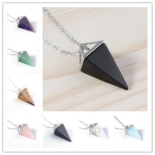 100-Unique 1 Pcs Silver Plated Square Pyramid Amethysts Pendant Tiger Eye Stone Necklace Link Chain Jewelry 100 unique 1 pcs silver plated amethysts hexagonal pyramid stone pendant link chain necklace black agates jewelry