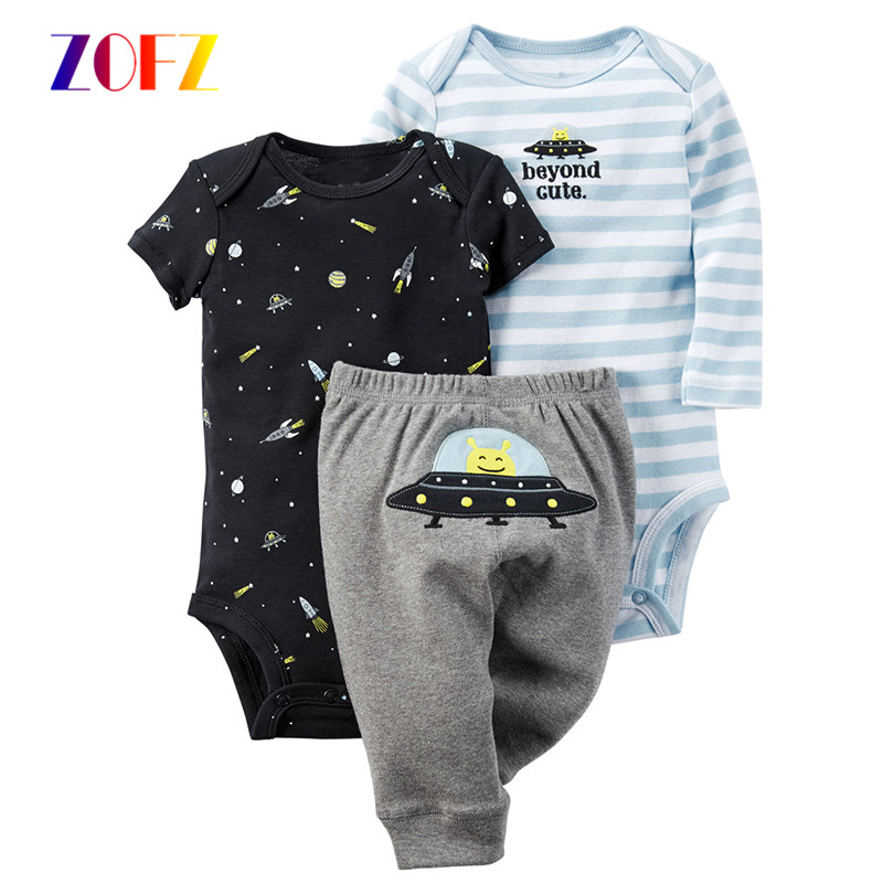 ZOFZ Cotton 3-Pieces 2018 Newborn Baby Boy Print Sets O-Neck Baby Clothing for Babies Regular New Casual Boy Clothes for Bebes 2017 new baby boy cloth 3 pieces lot