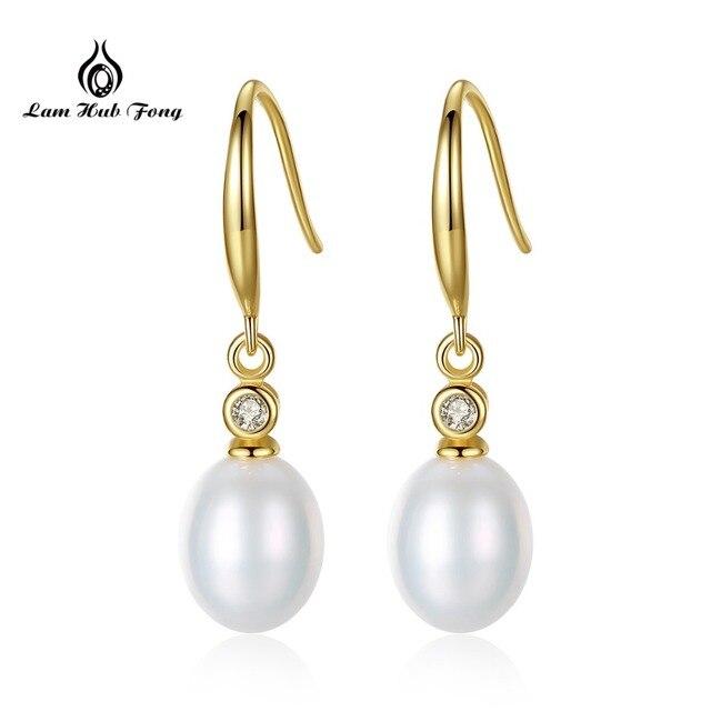 Classic natural pearl earrings S925 Sterling Silver Fine Jewelry Drop Earrings Hook Earrings Daily Wear Gift for women Wholesale