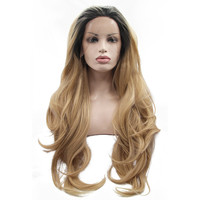 Sylvia Natural Wave Wigs Blonde Synthetic Lace Front Wig Dark Roots Heat Resistant Fiber Synthetic Ombre Hair For Balck Women