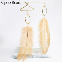 Cpop Trendy Long Nature Feather Earrings Pink Black Gray Pendant Gold Circle Dangle Earring Elegant Jewelry Gift