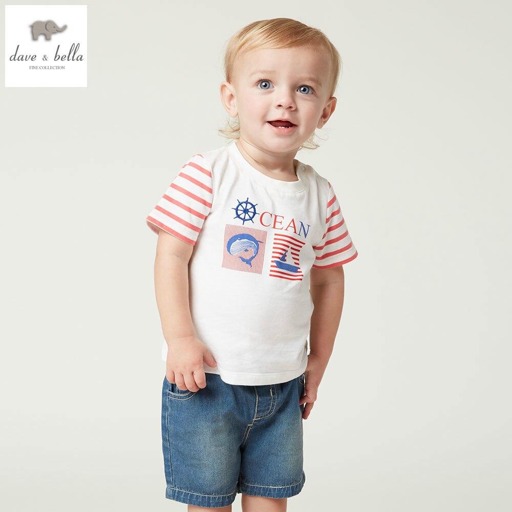 DB4901 dave bella summer baby boys clothing sets printed top denim pants sets child sets infant