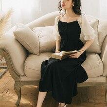 Новые модные женские платья летние французские винтажные платья с высокой талией и открытыми плечами с вырезом лодочкой