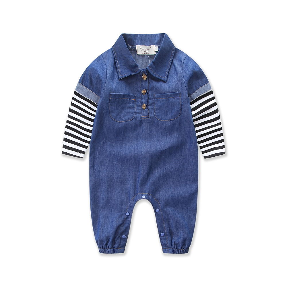 Infant Baby Girls Boys Clothing Denim Romper Jumpsuit Long Sleeve Cute Striped Clothes Baby Boy Playsuit newborn baby rompers baby clothing 100% cotton infant jumpsuit ropa bebe long sleeve girl boys rompers costumes baby romper