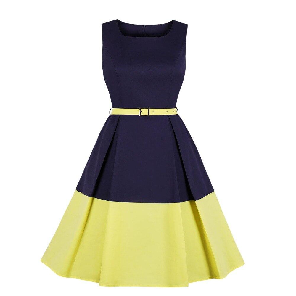 ea285687f Mujeres elegante Vintage trabajo vestido Vintage plisada 1950 s Retro Swing  vestido cinturón de ...