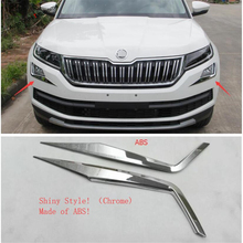 Yimaautotrims Front Fog Lights Foglight Lamps Eyelid Eyebrow Cover Trim Fit For Skoda Kodiaq 2017 2018 2019 Chromium Styling