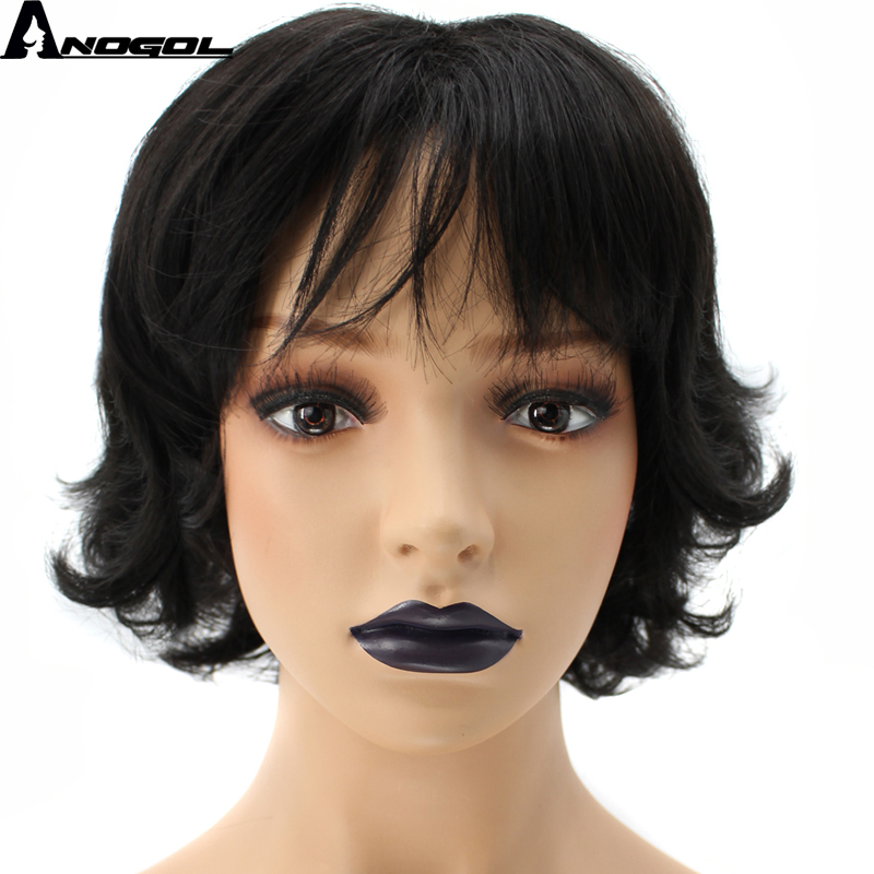 Anogol High Temperature Fiber Short Natural Wave Black Synthetic Wig With Baby Hair ...