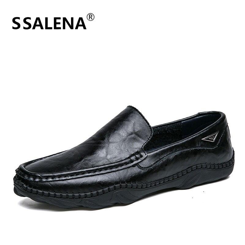 Glissement Chaussures De Conduite Doux En Bout Mode Décontractées marron Cuir Aa52107 Hommes Noir Mocassins Sur Appartements Rond gfy7b6