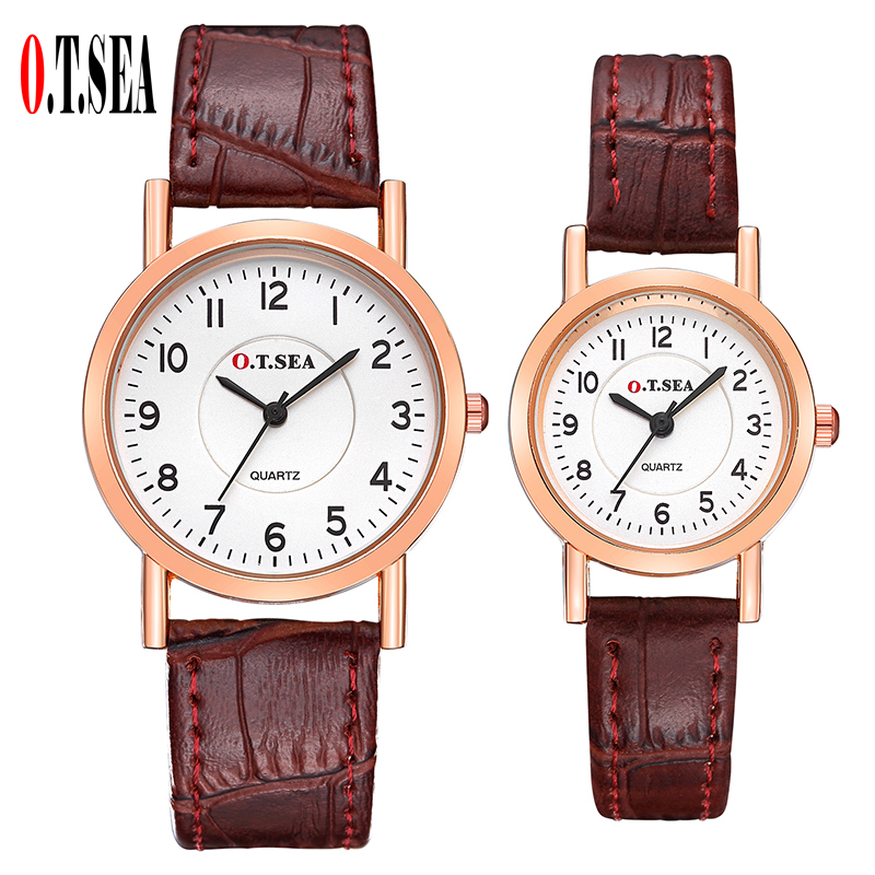 2 Pcs Luxury O.T.SEA Brand Leather Pair Watches Women Men Lovers Couple Fashion Casual Dress Quartz Wristwatches 844-2