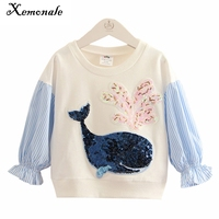 Xemonale Kids Girl T shirt Spring Autumn 2018 Fashion Cartoon Whale Sequins T Shirt Children Clothing Casual Tees Girl Clothes