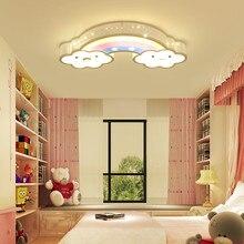 Nursery Children Babies Kids Bed Room Bedroom Night Lighting Iron Cute Lovely Smile Cloud Rainbow Led Ceiling Light Lamp Fixture