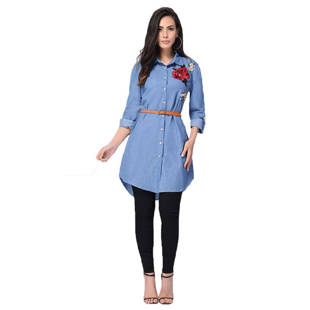 84a6db35e1b Женские Новые Модные вышивка джинсовые рубашки женские цветочные джинсы  Блузка с длинным рукавом офисная Повседневная Блузка