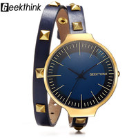 GEEKTHINK Retro Style Rivet Leather Bracelet Strap Quartz Watch Women Lady S Dress Wrsitwatch Gift Designer